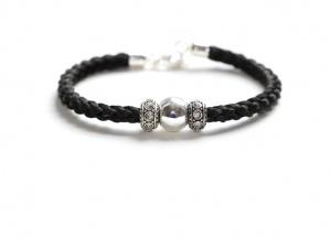 EA001B Armband geflochten mit Perlen aus Echtsilber