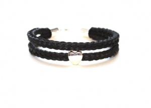 WA001A Armband geflochten aus 2 Strängen mit einer Perle aus Echtsilber