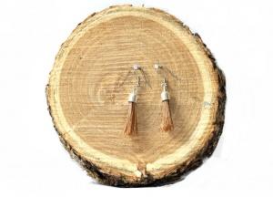 O002 Ohrringe aus Pferdehaar mit Echtsilberendkappen